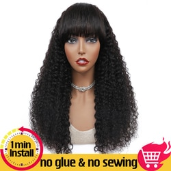 Perucas encaracoladas kinky brasileiras do cabelo humano com franja densidade 150% nenhuma parte dianteira do laço perucas glueless feitas à máquina para a mulher preta
