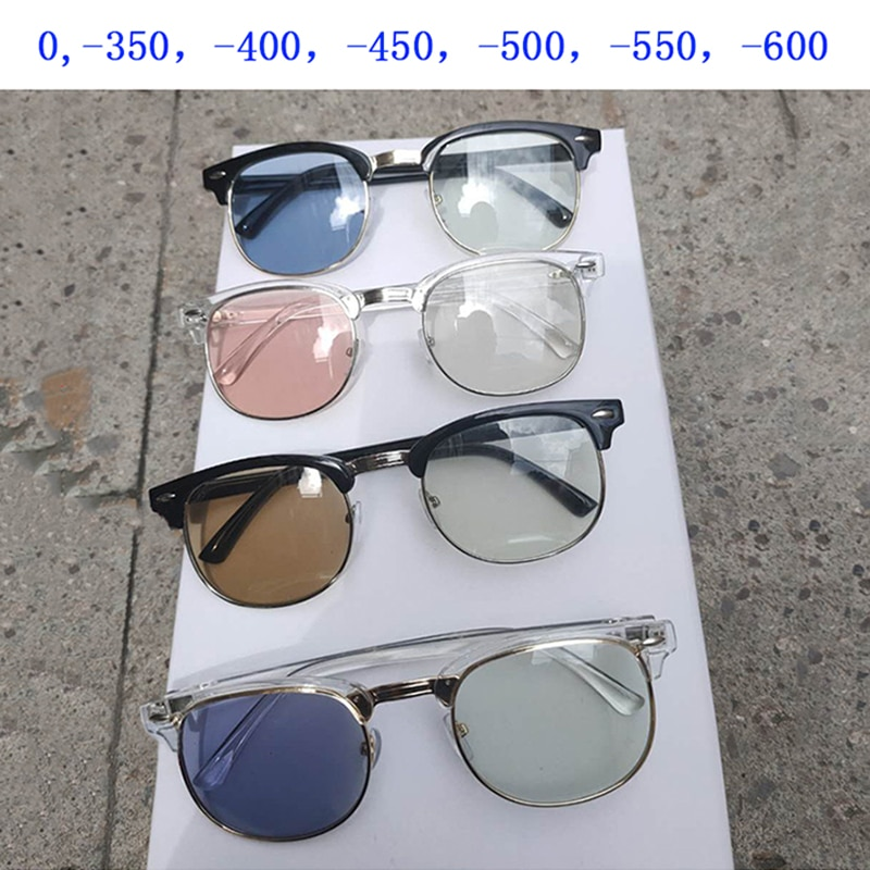 Unisex Anti Blue Light Myopia Sunglasses Women Men Photochromic Gray/Tea/Blue/Pink/Purple Nearsighte