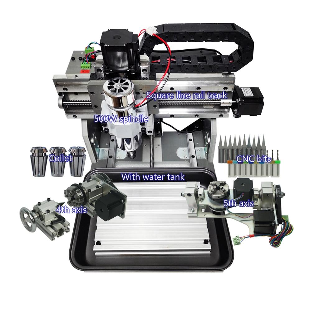 LY Mini لتقوم بها بنفسك جهاز التوجيه باستخدام الحاسب الآلي 3020 خط مربع السكك الحديدية 500 واط ER11 المغزل 3 /4 /5 محور PCB مطاحن خشب آلة الحفر المعدنية من...