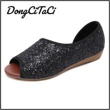 DongCiTaCi Summer Leopard Snake Print Women Wedges Sandals Shoes Women Casual Bling Sandals Peep Toe