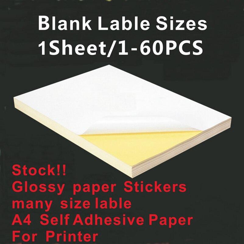 Pegatinas de papel brillante para personal A4 de varios tamaños de impresión de sello en blanco para impresora o escritura a mano DIY accesorios de etiqueta en blanco