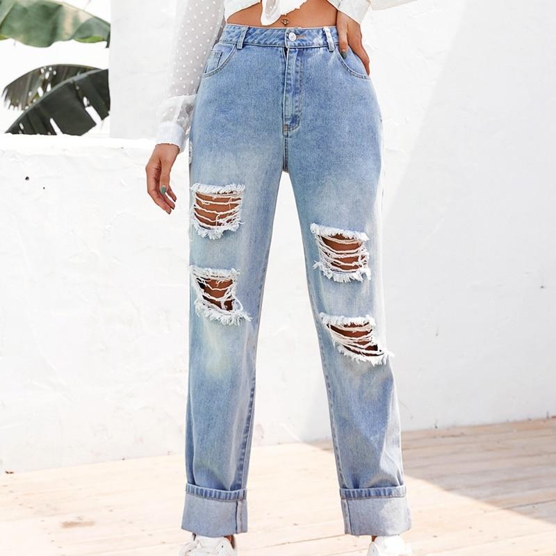 Lavado blanqueamiento mujer Jeans rasgados para damas pantalones pitillo Casual mamá Jeans alta cintura Denim Skinny Jeans XS