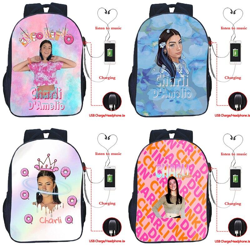 Унисекс Charli Damelio USB рюкзаки для девочек и мальчиков рюкзаки для студентов школьные сумки для мужчин женщин мужчин подростков дорожные рюкза...