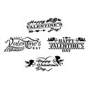 4Pack Happy Valentine's Day Stencils Templates Set for Plastic Reusable Crafting Wedding Valentine's Day Wedding