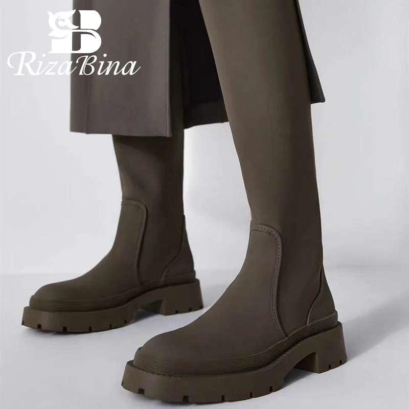 ريزابينا حجم 35-40 النساء الركبة الأحذية منصة الموضة أحذية الشتاء غير رسمية ل حذاء نسائي بكعب عالٍ اليومية سيدة طويلة التمهيد الأحذية
