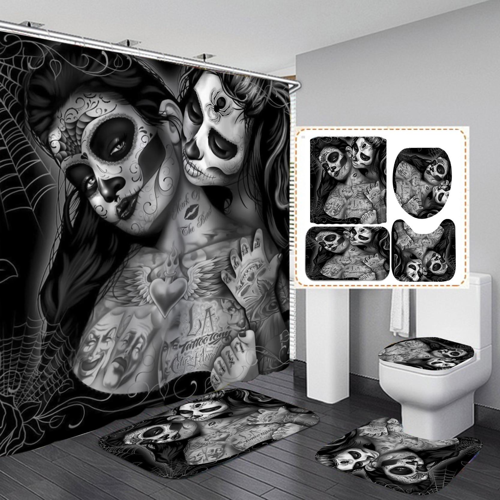 Waterproof Shower Curtains BathroomNon-Slip Rug Toilet Lid Cover Bath Mat Cortina de ducha impermeableRideau de douche toilette