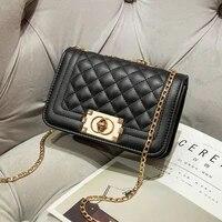 pu leather women shoulder bags fashion chain design brand crossbody handbag and clutches ladies high quality messenger check bag