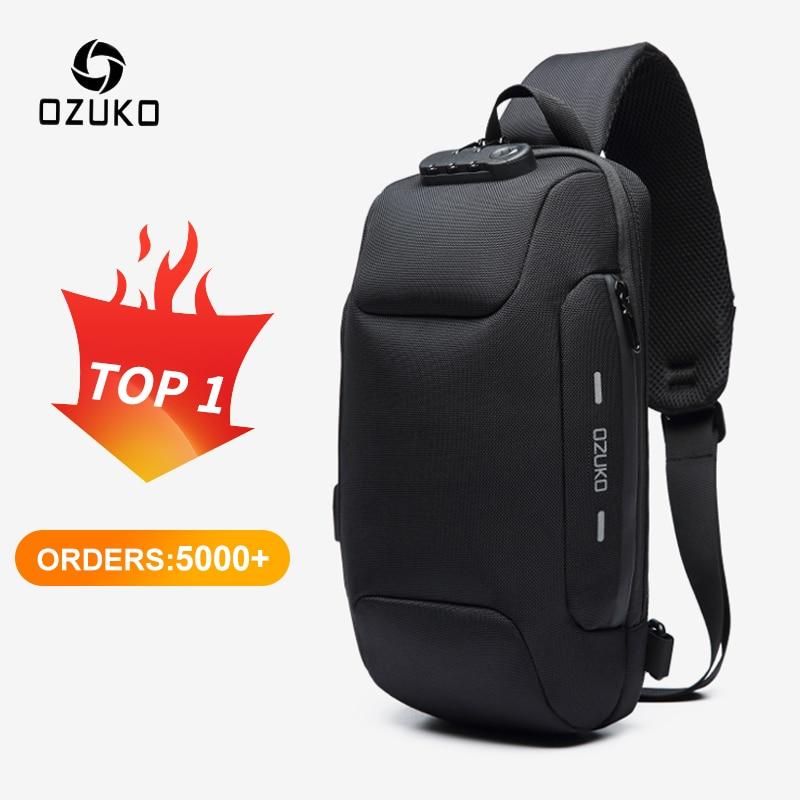 OZUKO – sac à bandoulière multifonction Anti-vol pour homme, sacoche épaule, imperméable, court voyage, poitrine, Pack, nouvelle collection 2021