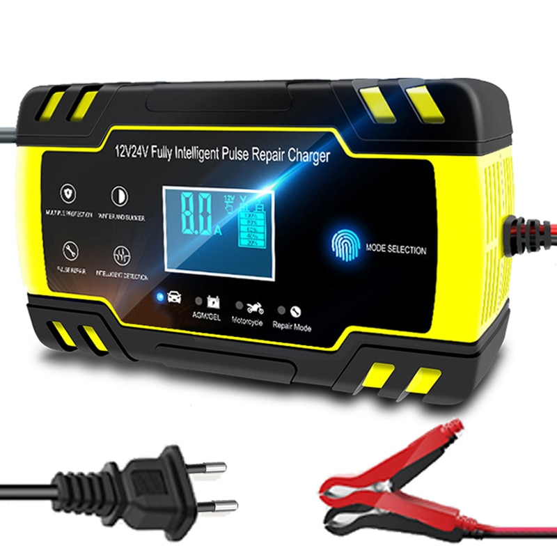 12v-24v 8a completo automático bateria-carregadores display lcd digital bateria de carro carregadores de energia puls reparação carregadores molhado seco chumbo ácido