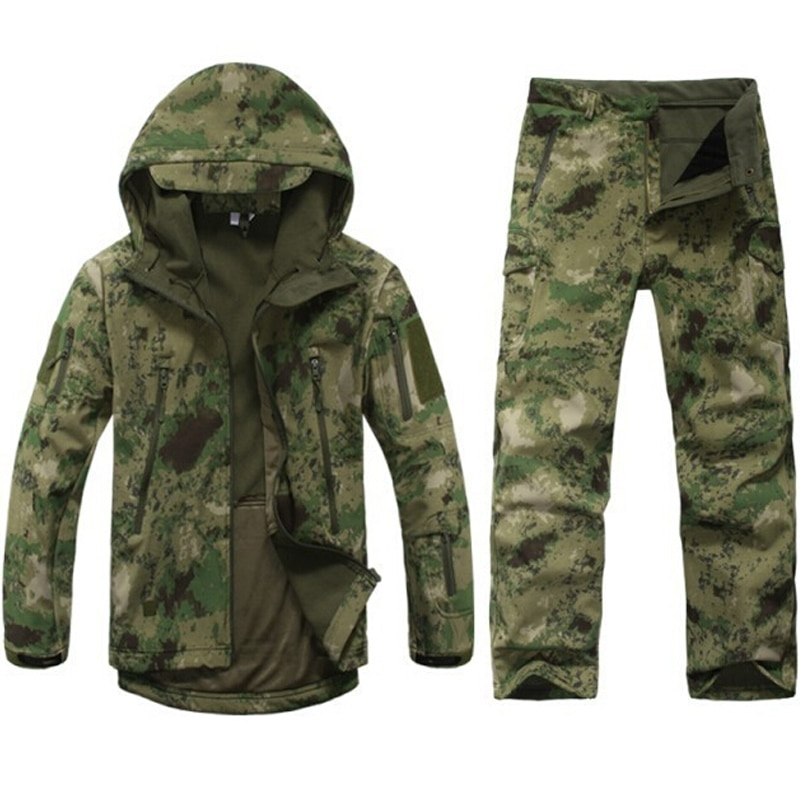 Tactical soft shell fleece jacket Men outdoor waterproof camo hunting clothes Suit camouflage army military jackets sports coats