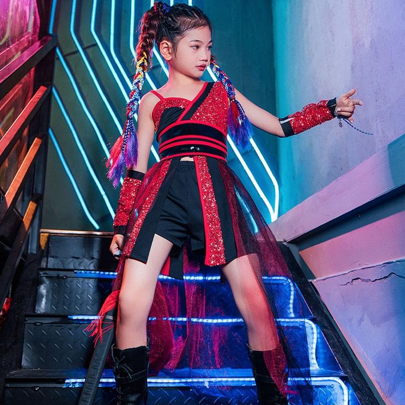 Костюм для девочек в стиле хип-хоп Детский костюм для выступлений на улице Детский костюм для сцены одежда для джазовых танцев с красными бл...