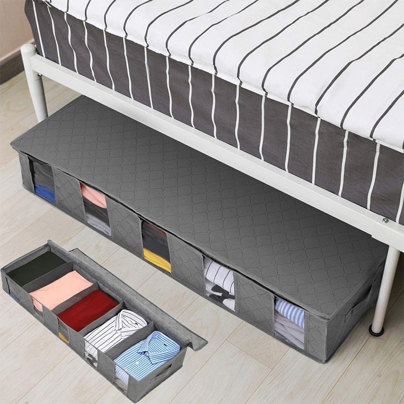 Under Bed Storage Bag Nonwoven Foldable Storage Box for Quilt Blanket Clothes Compartment Zippered Clothing Organizer