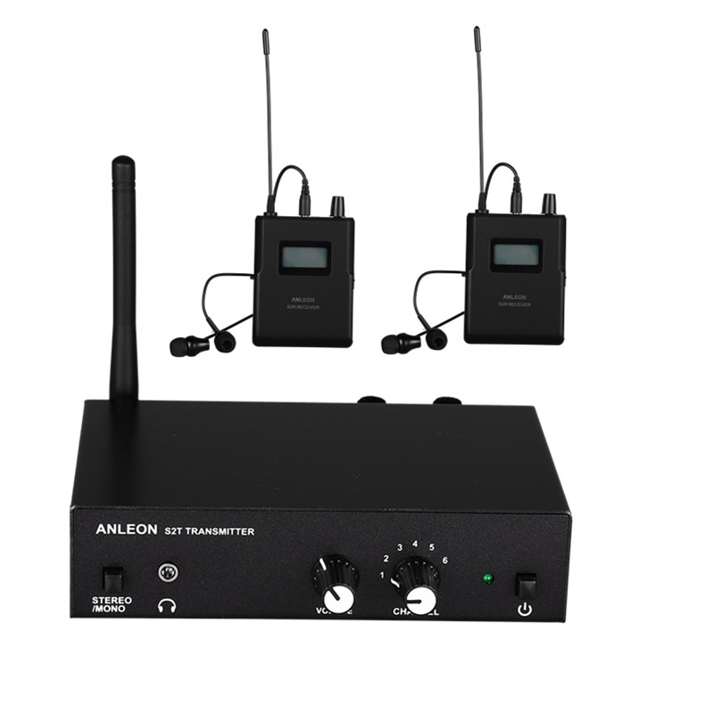 نظام مراقبة لاسلكي ستيريو ANLEON S2 UHF 670-680 ميجاهرتز احترافي رقمي نظام مراقبة داخل الأذن 2 جهاز استقبال