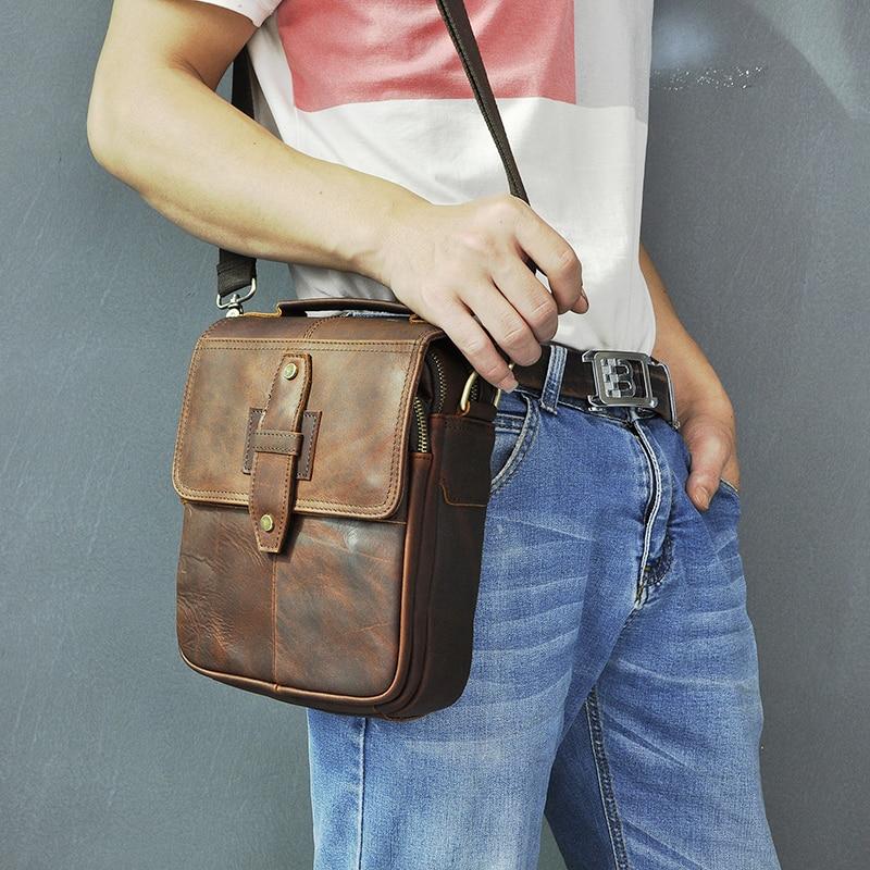 Quality Leather Male Fashion Casual Tote Messenger bag Designer Satchel Crossbody One Shoulder bag 8\