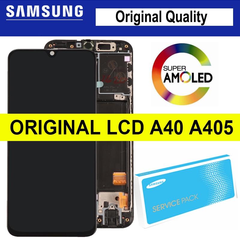 "100% Originele 5.9 ""Super Amoled Voor Samsung A40 2019 A405F Lcd Touch Screen Digitizer Vergadering Met Frame Reparatie onderdelen"