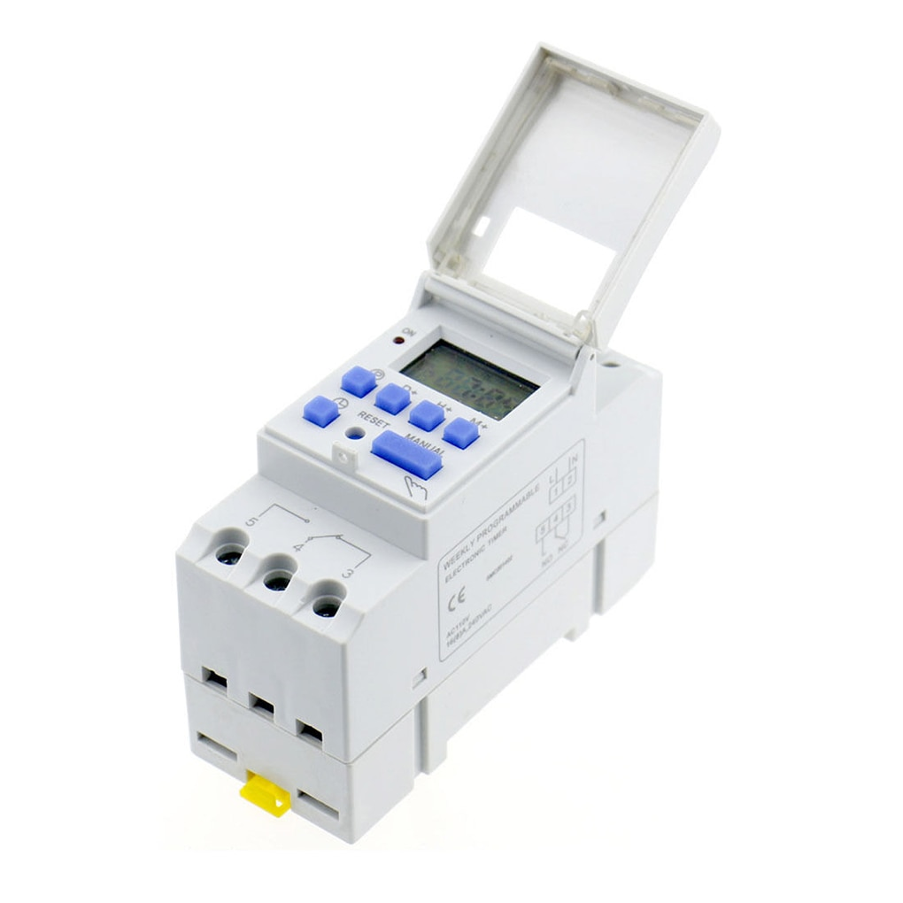 Electronic Weekly 7 Days Programmable Digital Industrial Time Switch Relay Timer Control AC 220V 16A Din Rail Mount