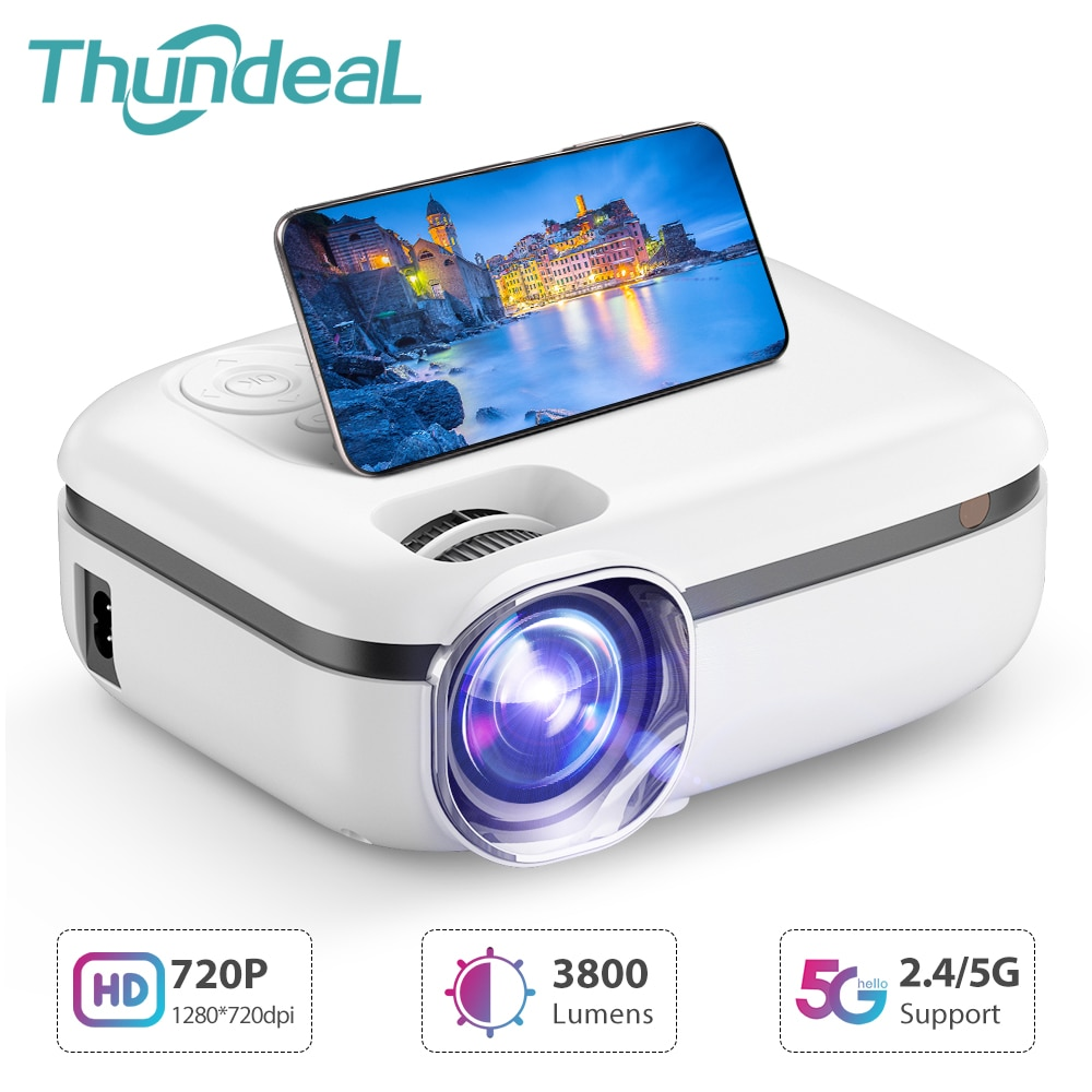 Get ThundeaL New Tech 5G WiFi Mini Projector TD92 Native 720P Smart Phone Projector 1080P Video 3D Home Theater Portable Proyector