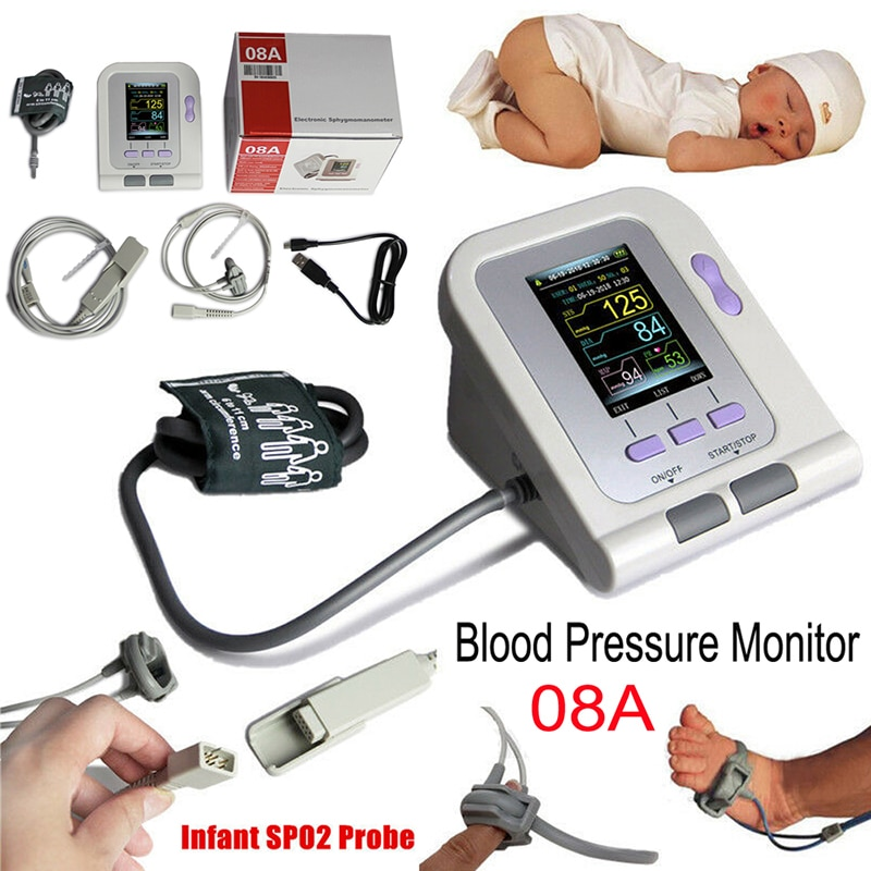 CONTEC08A Portable Digital Blood Pressure Monitor NIBP With  Infant Neonate Cuff & SPO2 adapter Cable For  Infant Neonate  Elect
