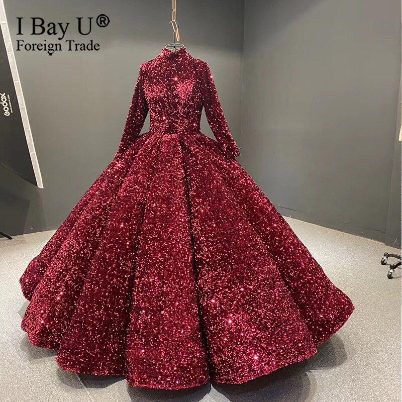 Sparkle Burgundy vestido de novia Dubai 2020 vestido de novia con lentejuelas lujo Sexy mangas largas de cuello alto vestidos de novia foto Real