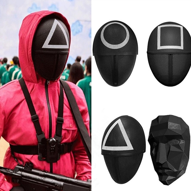 Todas as Máscaras de Round 6 série Netflix Máscara quadrado, triângulo, círculo, Máscara Preta Round 6