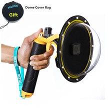 Neue Wasserdichte Zubehör Tauchen Haube Dome + Handheld Monopod Bobber Schwimm Berg für Gopro Hero8 Hero7 6 5 4 3 + 3 kamera Halterungen