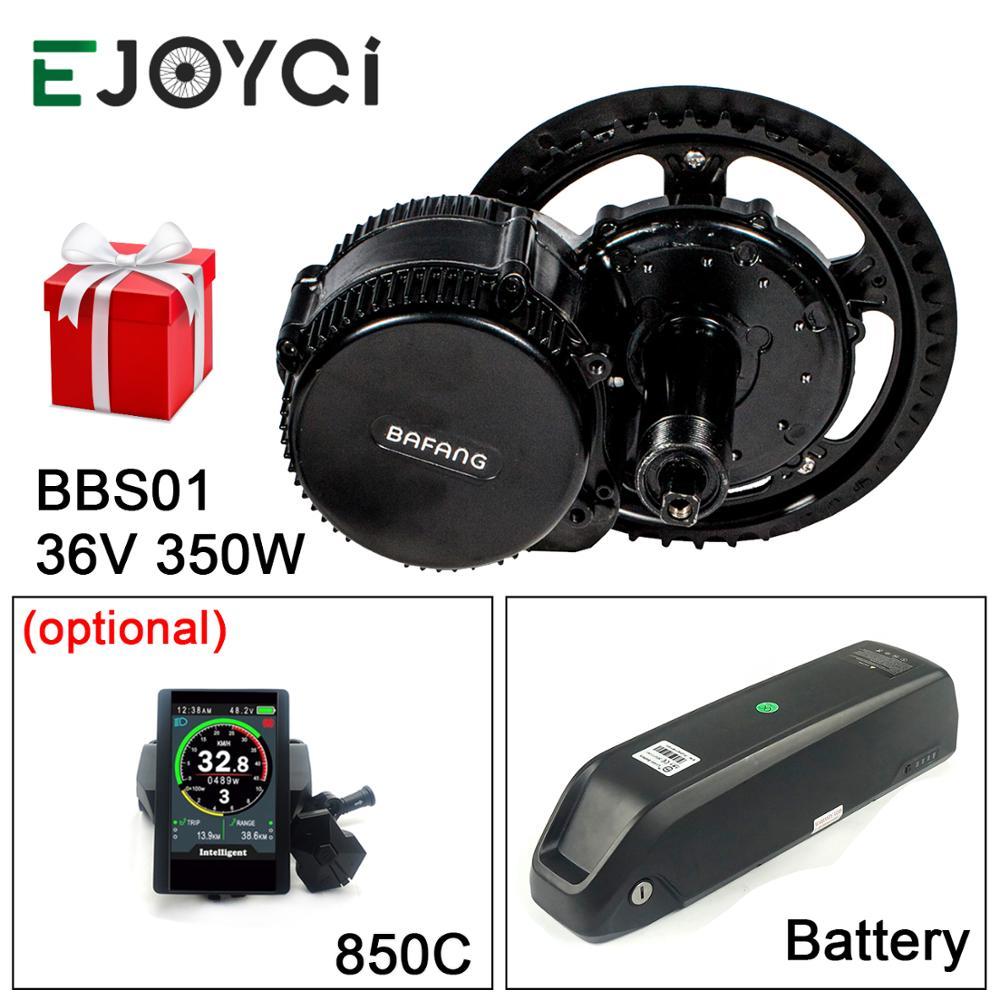 Bafang-مجموعة محركات الدراجات الكهربائية ، 36 فولت ، 350 واط ، M215 ، 13Ah ، li-ion ، BBS01B ، 850C ، DPC18 ، مجموعة تحويل المحرك مع بطارية
