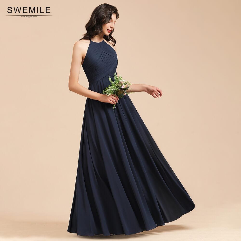 50 Colors A-line Chiffon Bridesmaid Dresses Long For Women Halter Sleeveless Wedding Party Dress robe de soirée de mariage недорого