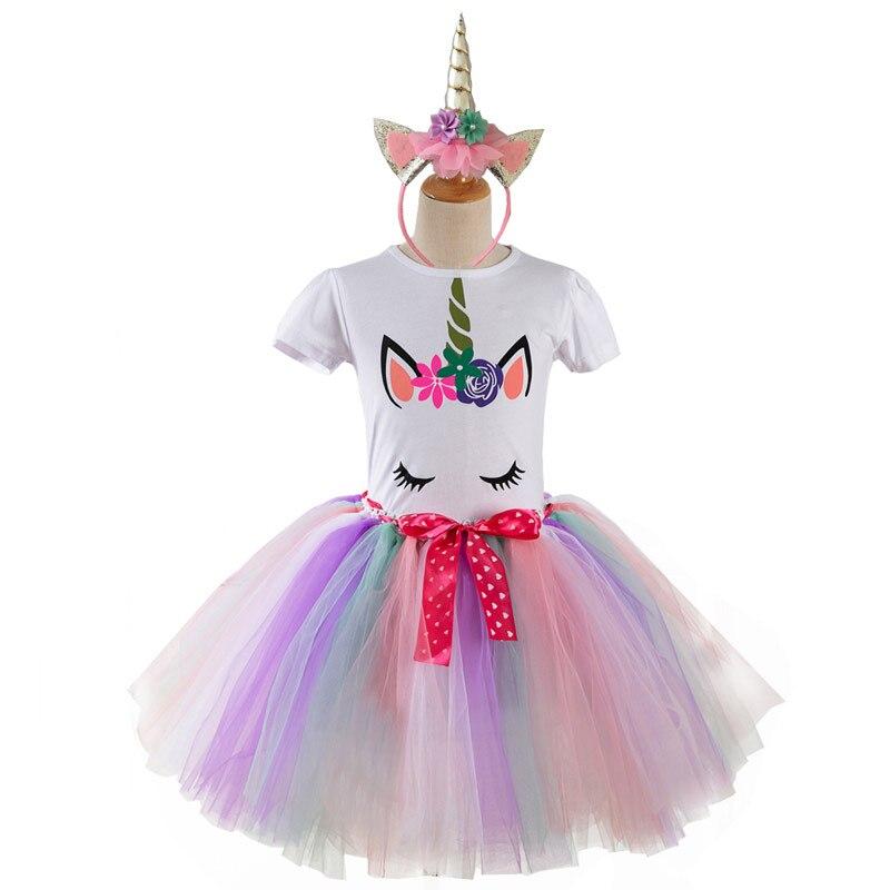Meninas conjuntos de roupas unicórnio algodão tshirts bebê menina tutu vestido festa aniversário livre bandana meninas roupas 10 12 ano