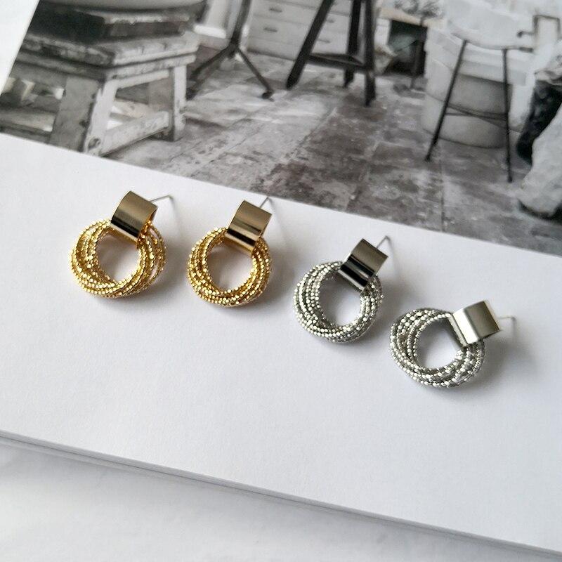 PerisBox pendientes geométricos de múltiples bucles en capas pendientes de oro de latón para mujer pendientes de perno minimalista brillante 2019