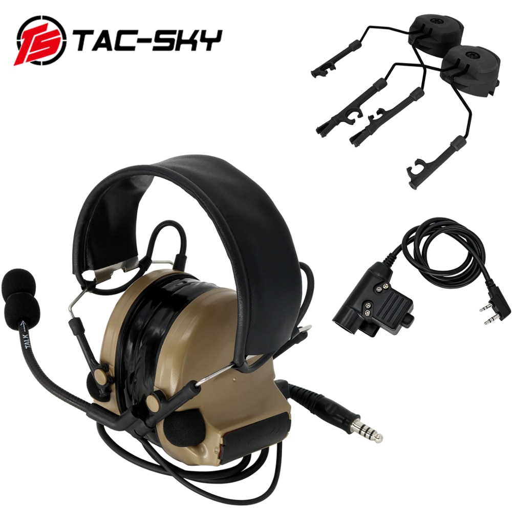 TAC-SKY COMTAC II noise reduction pickup tactical hunting shooting headset + tactical PTT U94 PTT + ARC track comtac bracket  DE