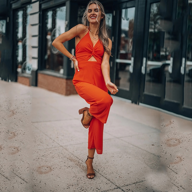 Orange Backless Sling Hollow Out Jumpsuit Women Summer High Waist Sexy Slim Jumpsuit Lady Beach Style Streetwear Party Pants
