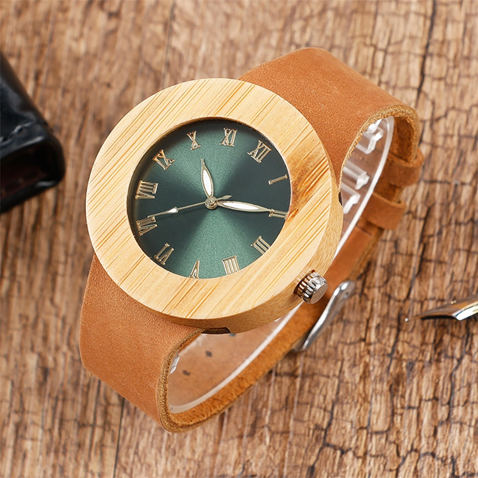 REDFIRE Natural Bamboo Wood Watch for Lady Vintage Green/ Blue Roman Number Display Quartz Women's Watches Genuine Leather Strap enlarge