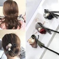 2021 flower hair accessories bun maker girl donut device quick pearl hair bands diy hairstyle headband hair braiders