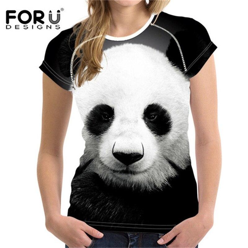 FORUDESIGNS Animal Panda Print WomenT Shirt 2019 Cute Pattern Summer Woman Shirt For Ladies black&white Girls Tee Top Clothes