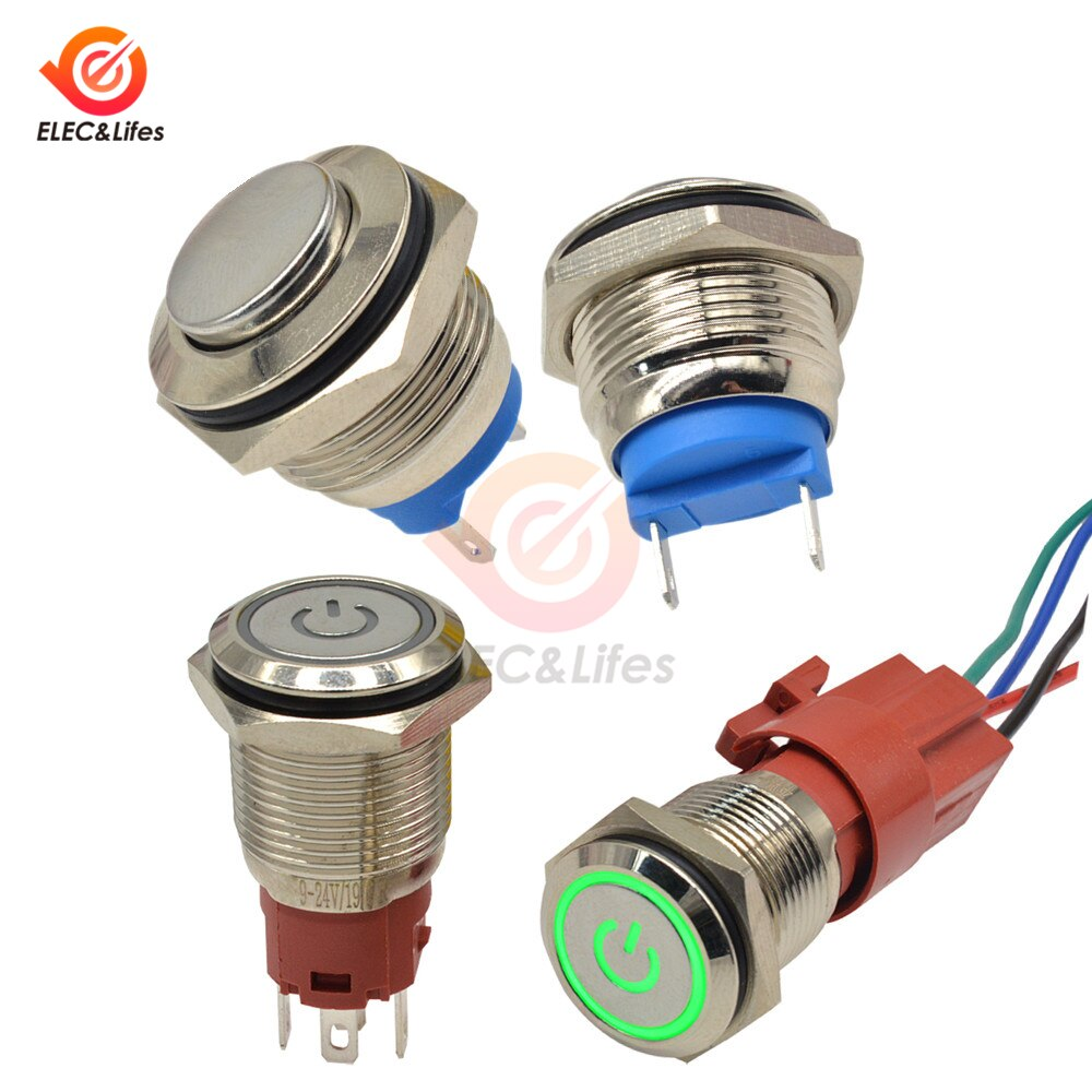 Interruptor de botón de Metal AC 250V 5A 16mm botón circular plano impermeable interruptor de reinicio automático de luz LED sin interruptor momentáneo de metal