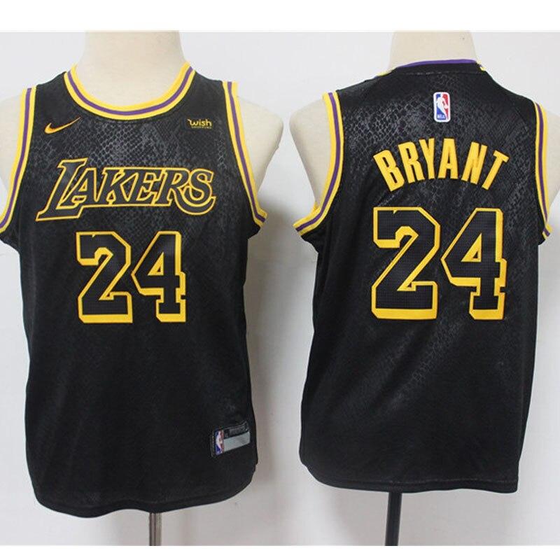 Negro de Los Lakers Jersey NBA jóvenes niños camiseta baloncesto 24 Kobe...