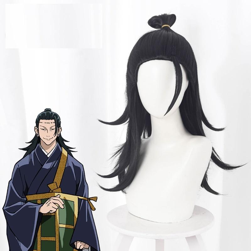 أنيمي Jujutsu Kaisen شعر مستعار تأثيري جيتو Suguru شعر مستعار + شعر مستعار مجاني غطاء طويل أسود الباروكات للعب دور هالوين