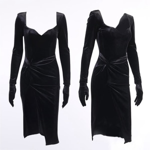 Female V Neck Long Sleeve Sexy Party Bandage Dress Slim Black Bodycon Women Autumn High Waist Slit Backless Fashion Dresses