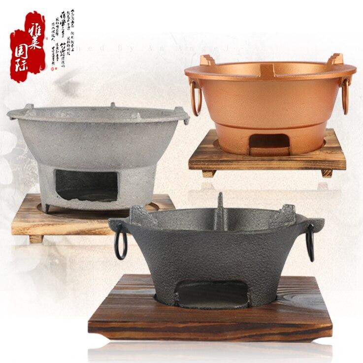 De hierro fundido carbón estufa de barbacoa alcohol horno de barbacoa carne asada marisco japonés, coreano salud parrilla bandeja de madera conjunto