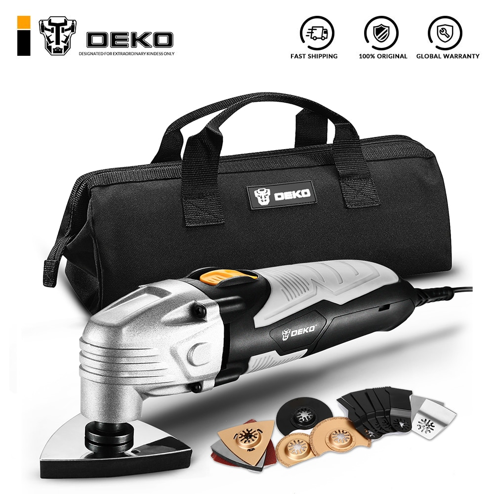 DEKO New 220V DKOM40LD1/2 Electric Multifunction Oscillating Tool Electric Trimmer Saw Variable Speed  with Accessories