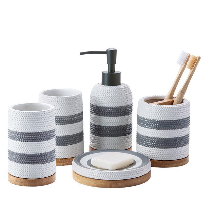 Simple Bathroom Set Ceramic Wash Five-Pieces Bathroom Supplies Decoration  Off-White Stripes Ceramics Soap Dispenser Toothbrush enlarge