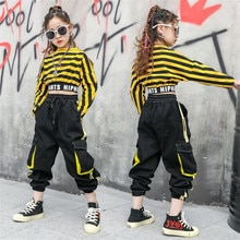 Vêtements à rayures Hip-hop pour filles   Costume de scène, danse de rue, sweat-shirt de Performance, pantalon Cargo, costumes pour adolescentes et enfants