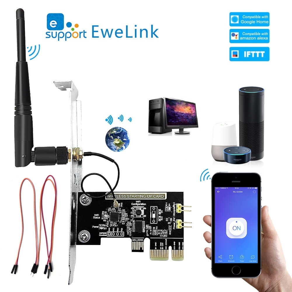 eWeLink WiFi Wireless Smart Switch Relay Module Mini PCI-e Desktop Switch Card Restart Switch Turn O