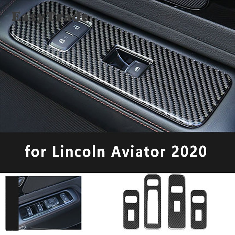 ABS Carbon Fiber Car Window Switch Cover Button Panel Trim Inner Armrest Panel For Lincoln Aviator 2020 2021 Accessories 4 Pcs enlarge