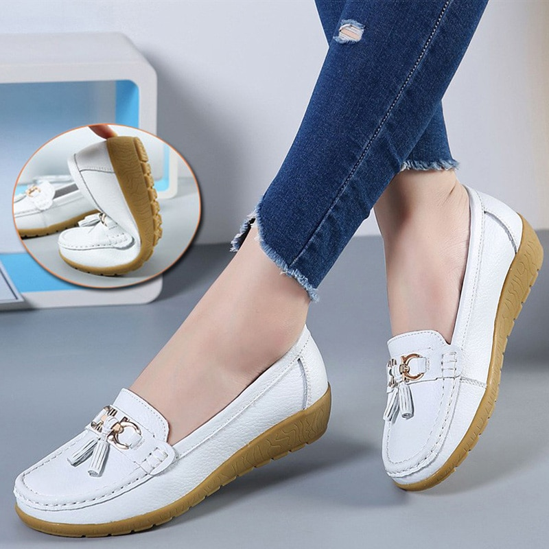 Women Flats Ballet Shoes Cut Out Leather Breathable Moccasins Women Boat Shoes Ballerina Ladies Casu