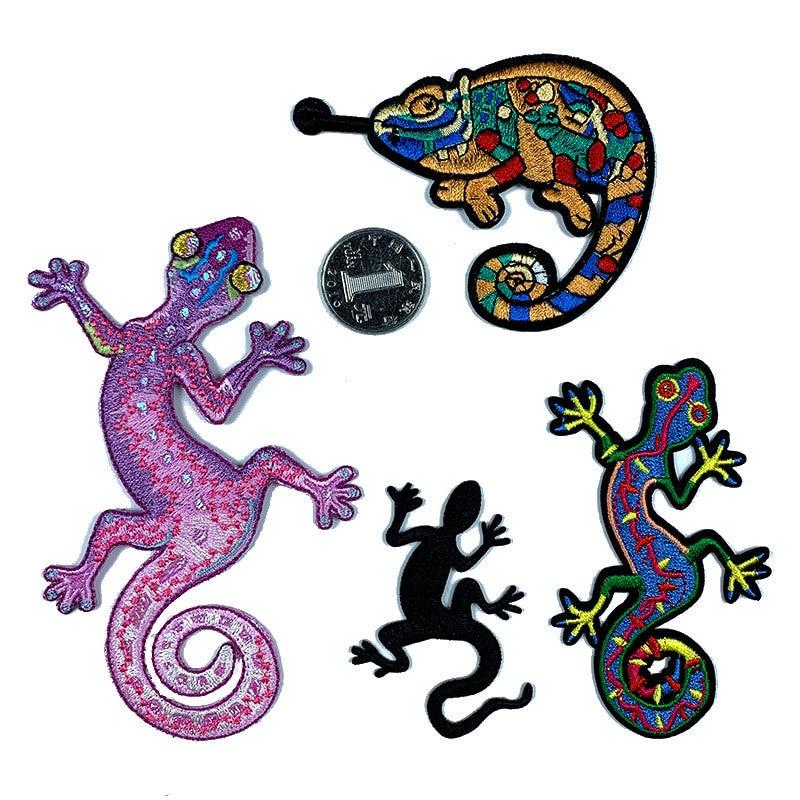 Изысканный Хамелеон Ящерица Геккон заплатки в виде животных для одежды моющиеся патч DIY железа на одежде стикеры аксессуар