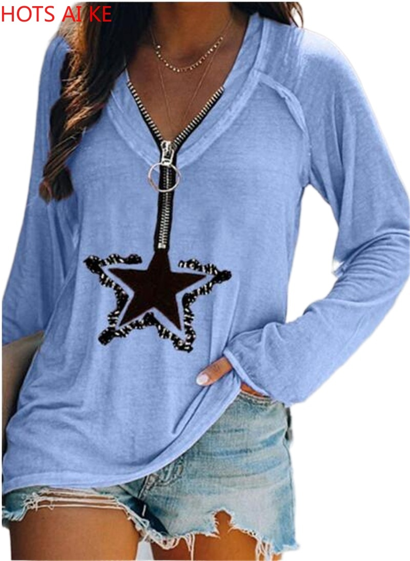 Womens Fashion Clothes Casual Spring Summer Long Sleeved T-shirts Zipper Tops  Deep V-neck Blouse Loose Cotton Shirts