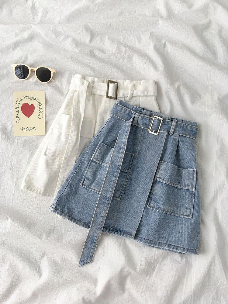 Ins nouveau 2019 nouveau bleu blanc taille haute Jeans Jupe Streetwear bas ceinture poches a-ligne Denim Jupe Femme G782