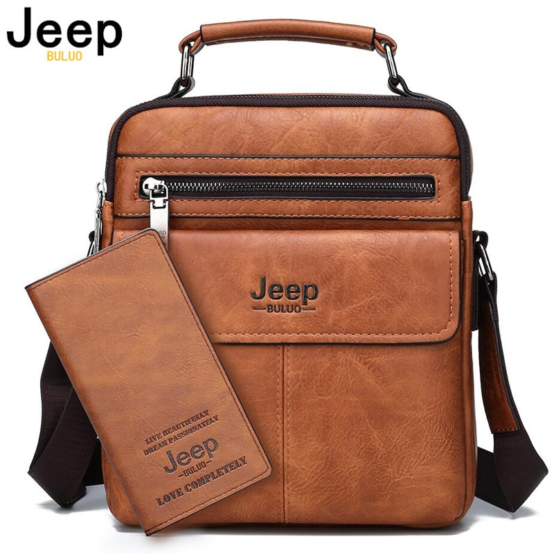 JEEP BULUO Brand Men's Crossbody Shoulder Bags High quality Tote Fashion Business Man Messenger Bag