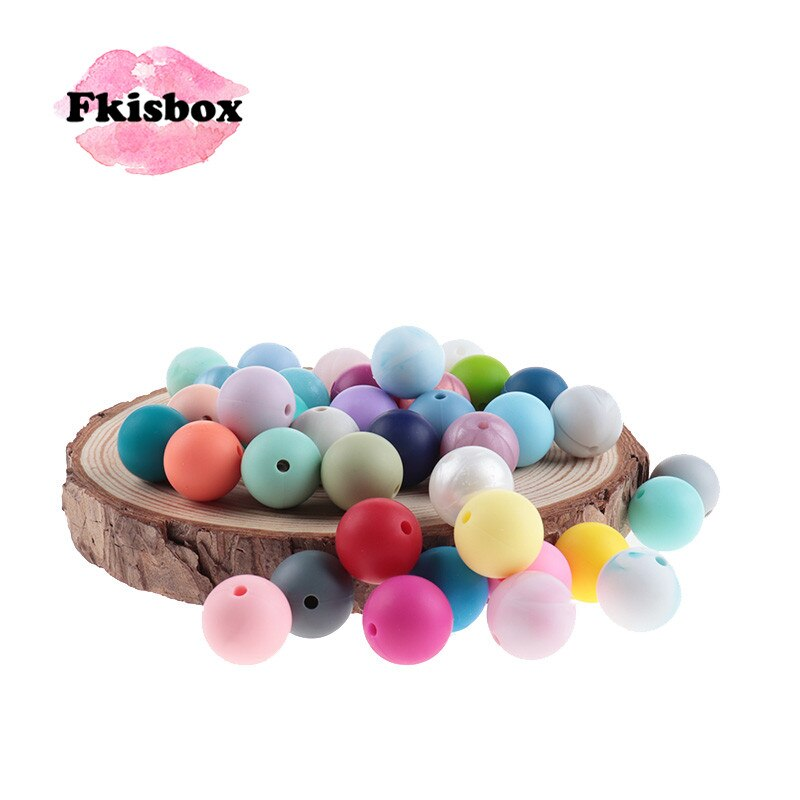 Fkisbox 500pcs Silicone 15mm Round Loose Beads Baby Teether Pacifier Chain Accessories Tooth Nursing Chewable Gift DIY BPA Free